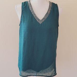 Maurices spruce embellished blouse size medium
